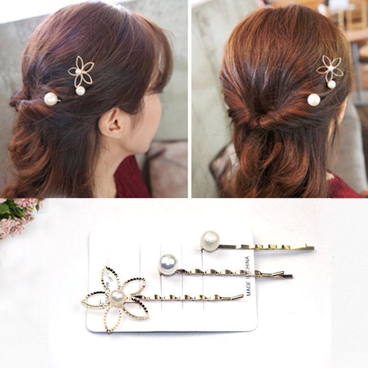 Combo 3 kẹp tóc hình hoa và ngọc trai
