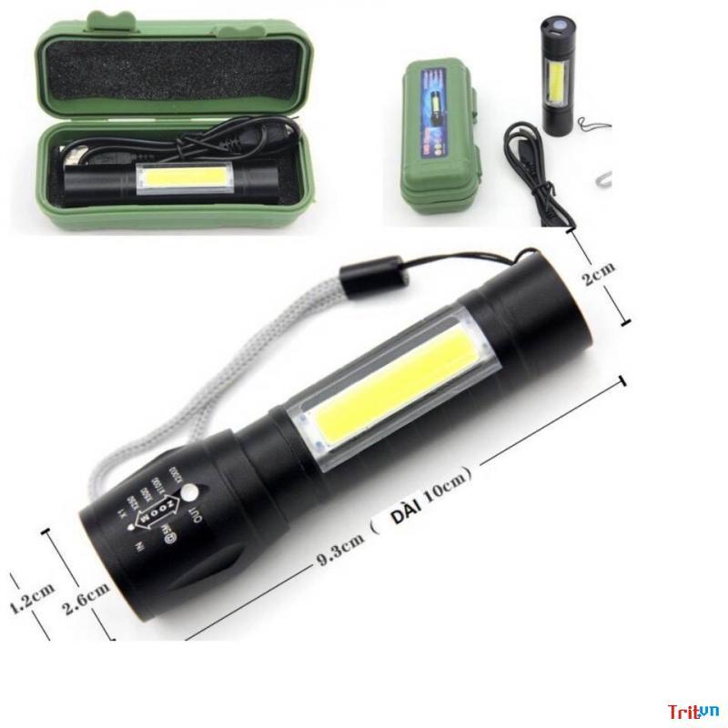 Đèn pin siêu sáng đa năng mini hộp xanh xịn